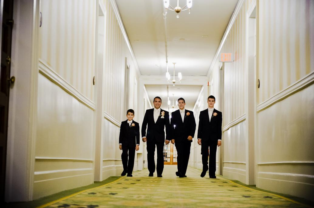 Groom and sons in Mount Washington Hotel New Hampshire Hotel