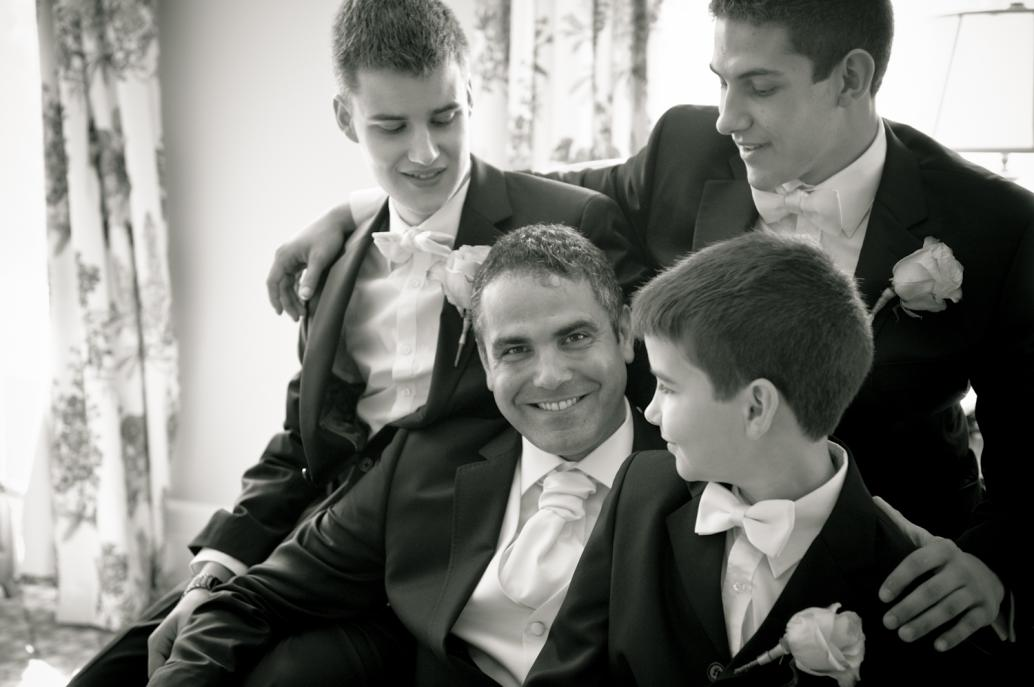 Elegant groom and sons